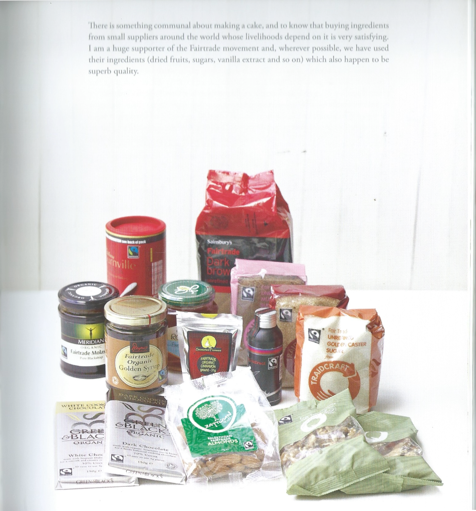 page from Delia Smith baking book listing fair trade ingredients