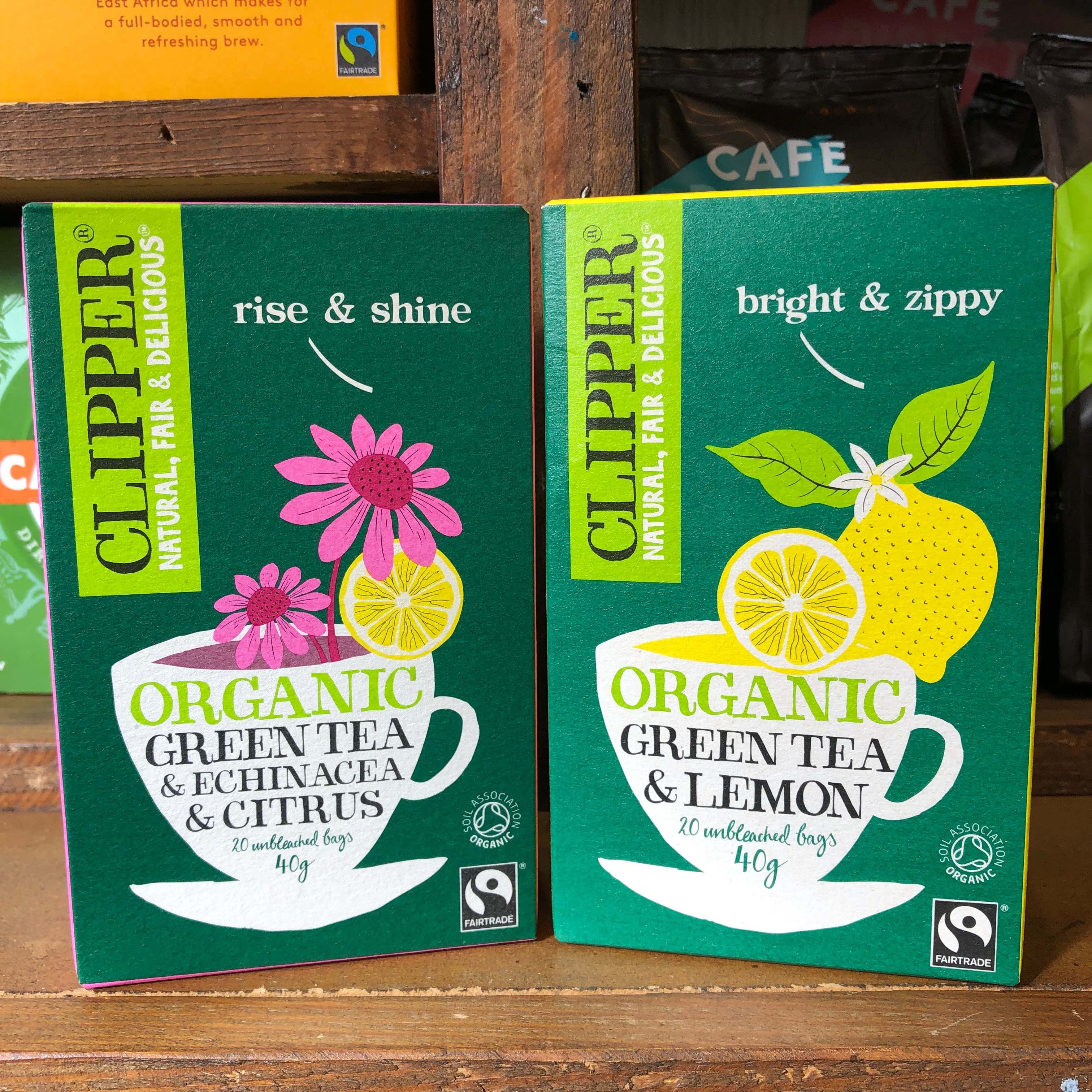 Clipper boxes of green teas